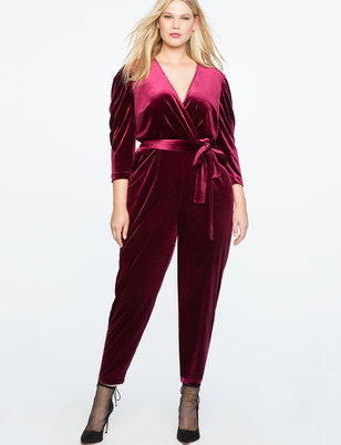 Velvet Pleated Jumpsuit