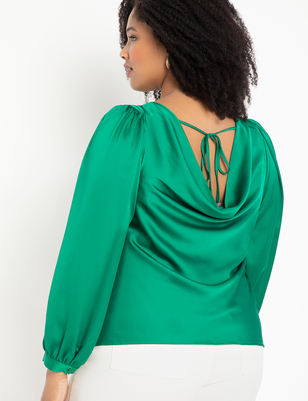 Cowl Back Top with Drama Sleeve