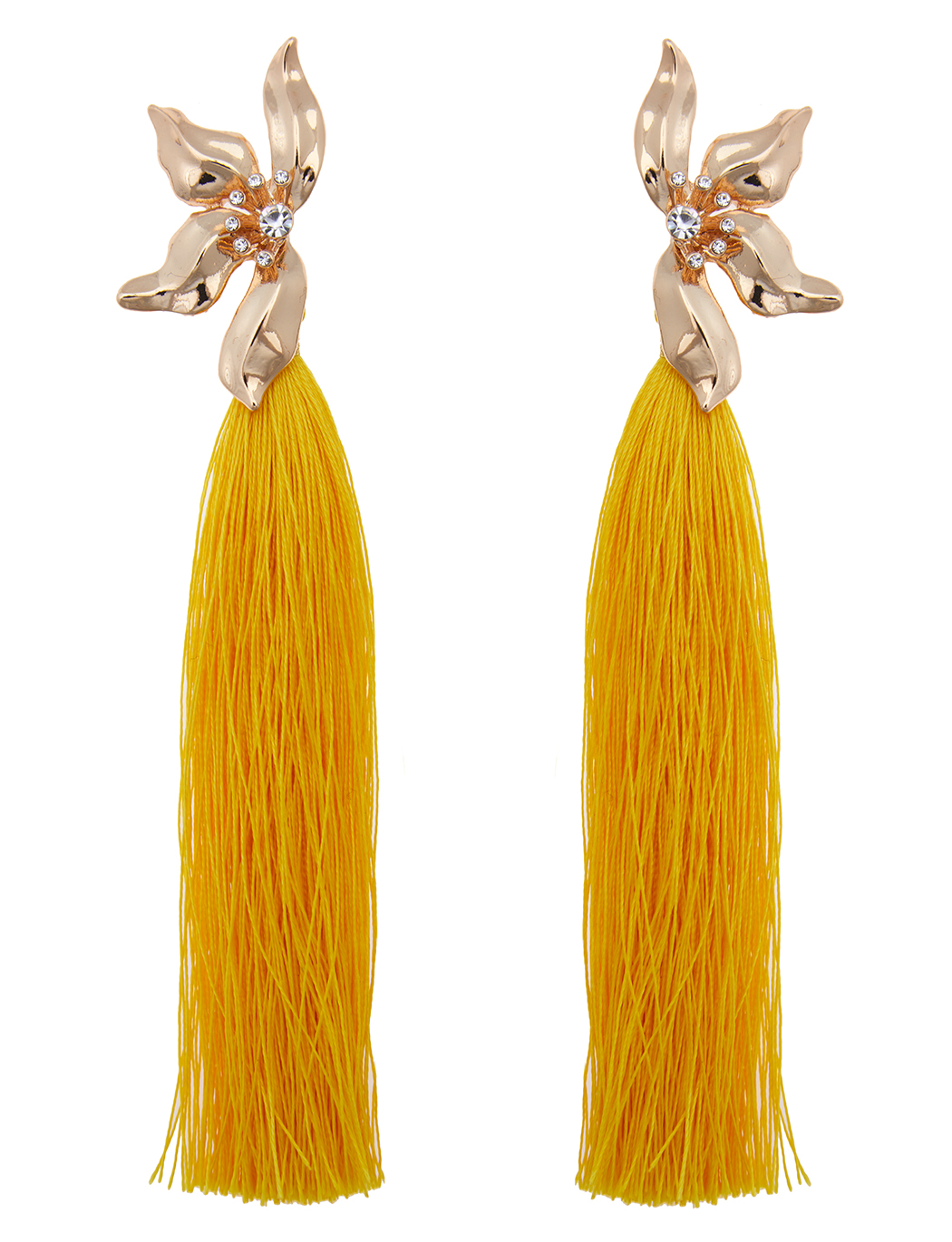 Floral Statement Tassel Earrings