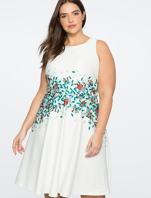 Floral Detail Fit and Flare Dress