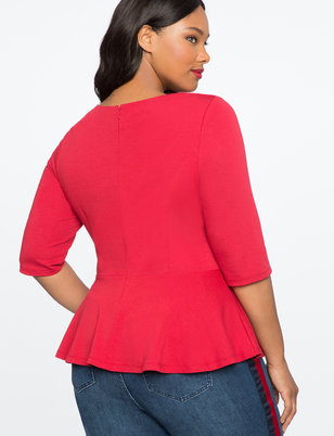 Bow Gathered Peplum Top