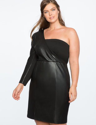 One Shoulder Puff Sleeve Faux Leather Dress