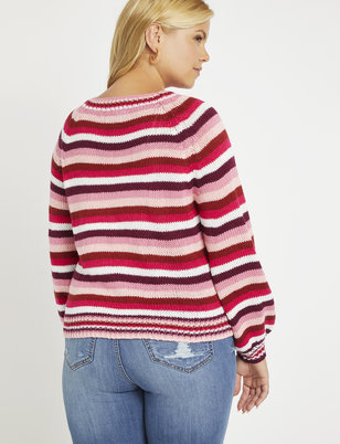 Striped Puff Sleeve Sweater