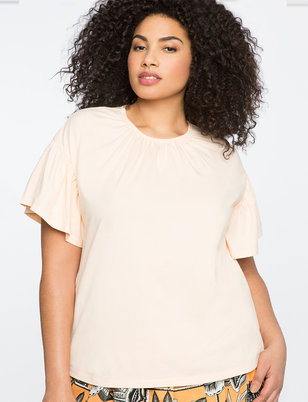 Gathered Neck Flutter Sleeve Tee