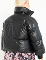 Faux Leather Puffer Coat Totally Black