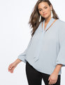 Tie Neck Top with Puff Sleeve Eventide