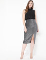 Sparkle Skirt with Slit Silver