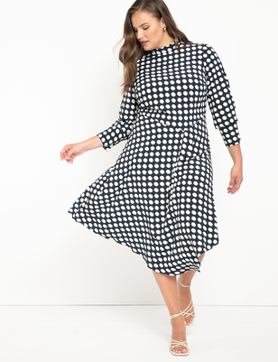 Mock Neck Dress with Flounce