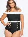 Off The Shoulder One-Piece Swimsuit Black/White
