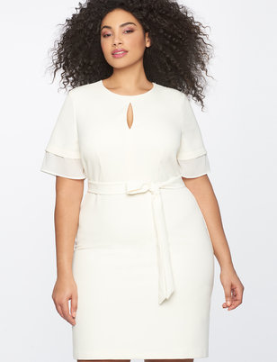 Tiered Sleeve Dress with Keyhole Neckline