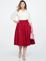 Side Snap Button Midi Skirt RASPBERRY RED