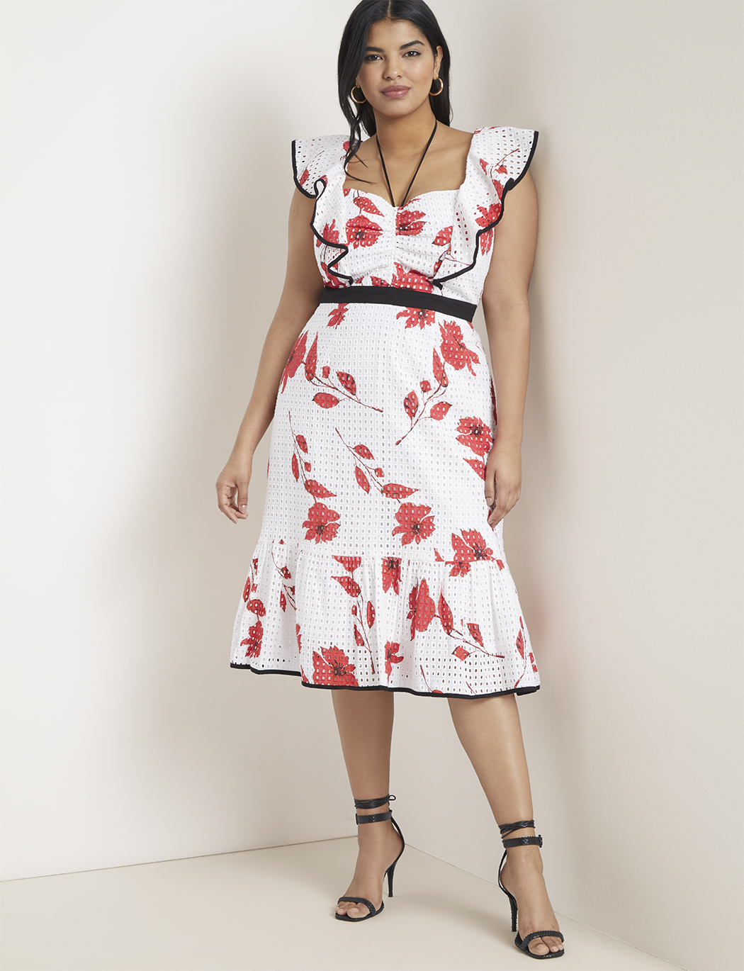 Ruffle Sleeve Printed Eyelet Dress