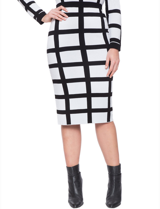 Contrast Windowpane Skirt
