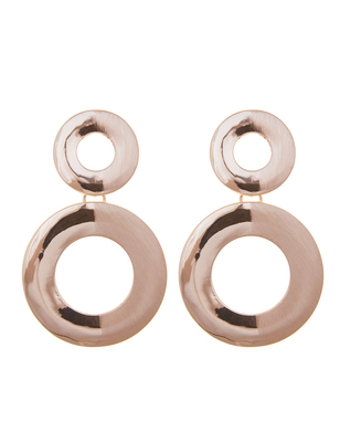 Half Brushed Double Circle Earrings