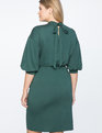 Puff Sleeve Tie Back Ponte Dress Green