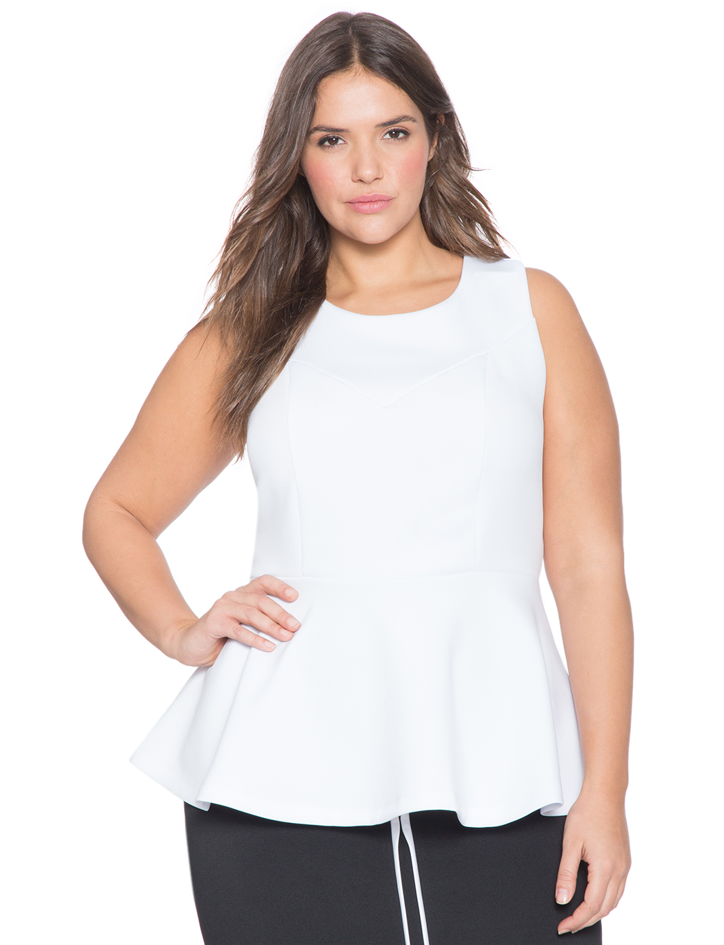 0f2081facd027 Split Back Sleeveless Peplum Top