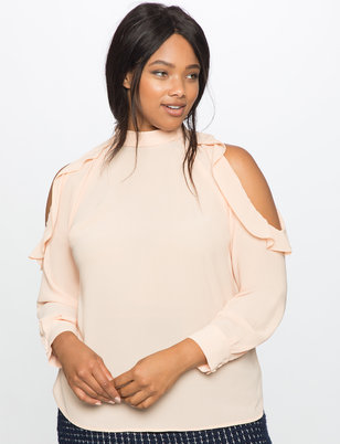 Cutout Ruffle Shoulder Mock Neck Blouse