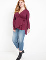 Peplum Wrap Top Vin Rouge