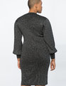 Puff Sleeve Metallic Dress Black with Silver Lurex