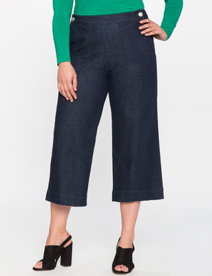 Button Front Cropped Denim Pant