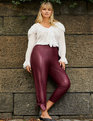 Faux Leather Ankle Tie Pant Cordovan