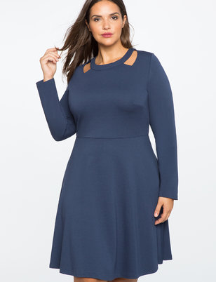 Cut Out Neckline Fit and Flare Dress