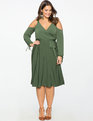 Cold Shoulder Wrap Dress OLIVE