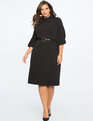 Mock Neck Sheath Dress BLACK