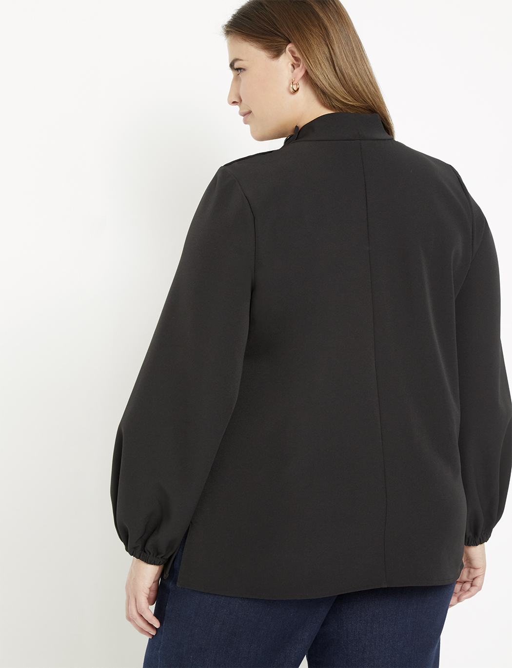 Button Collar Blouse with Puff Sleeve