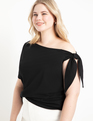 Tie Shoulder Elbow Sleeve Tee Totally Black