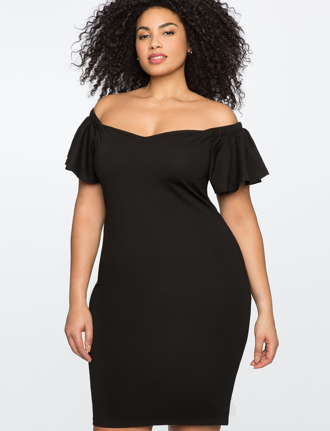 Ruffled Sleeve Off The Shoulder Dress Womens Plus Size Dresses