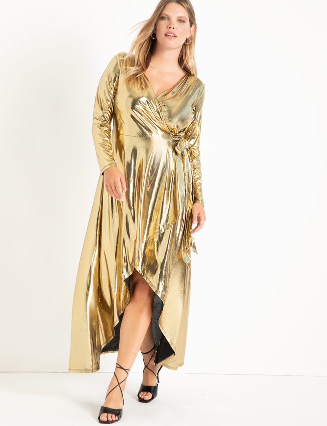 Metallic Wrap Maxi Dress Gold