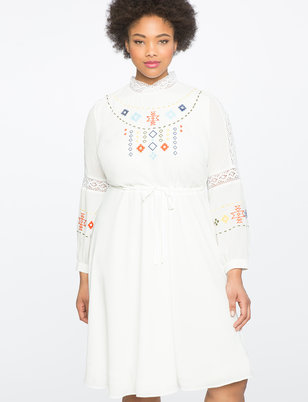 Studio Embroidered Fit and Flare Dress