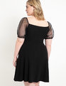 A-line Dress with Organza Sleeves Black