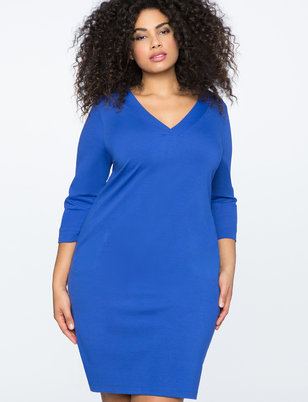 3/4 Sleeve Essential Tee Dress