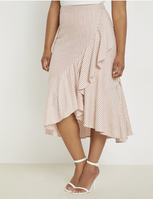 Midi Skirt with Flounce