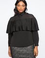 Mesh Yoke Collar Top Totally Black