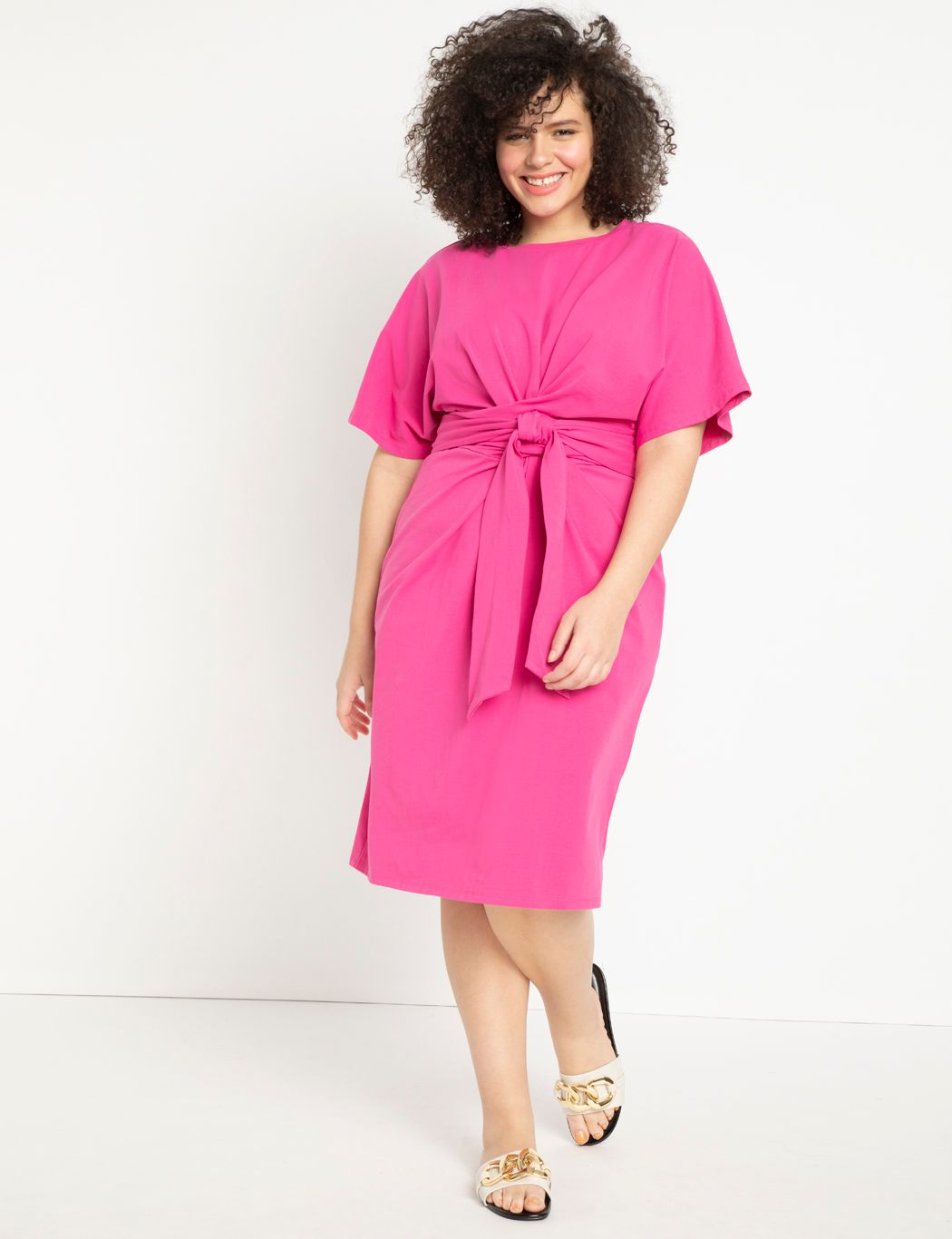 Cross Front Flutter Sleeve Dress