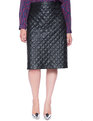 Studio Quilted A-Line Midi Skirt Black