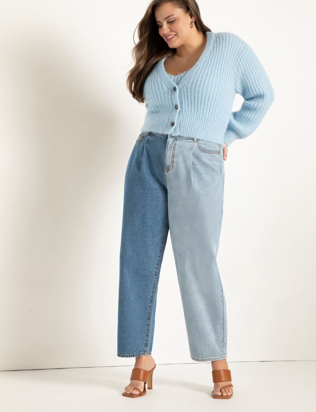 Colorblocked Pleat Front Relaxed Jeans