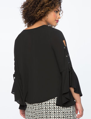 Lace Up Flounce Sleeve Top