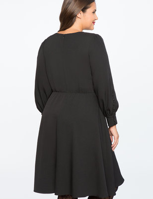 A-Line Dress with Button Cuff Detail