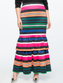 Trumpet Maxi Skirt with Ruffle MULTI-STRIPE