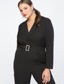 Jumpsuit with Lapel and Rhinestone Belt Totally Black
