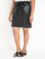 Faux Leather Mini Skirt with Belt Black