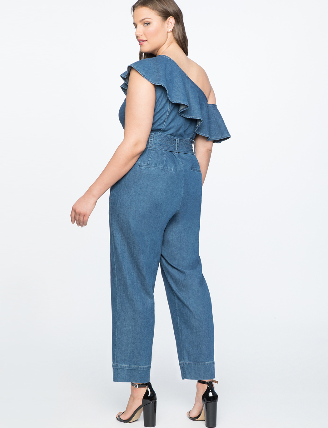 One Shoulder Denim Jumpsuit with Ruffle