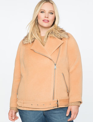 Moto Coat With Faux Fur Collar