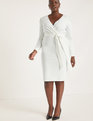 Puff Sleeve Surplice Dress White