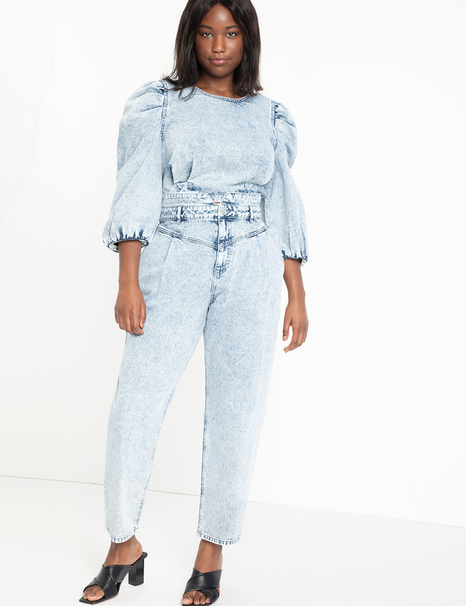 High Waisted Acid Wash Jean