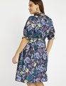 Puff Sleeve Tie Neck Dress Painted Petals